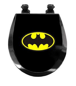 Batman Black Wood Round Toilet Seat