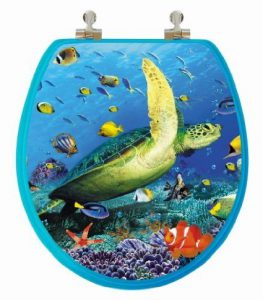Cool 3D Ocean Turtle Round Toilet Seat