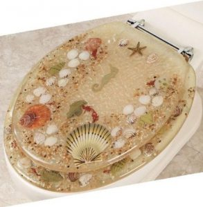 Elongated Beige Seashell Lucite Toilet Seat