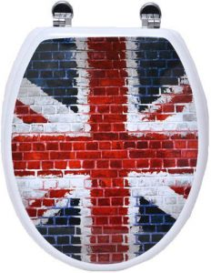 Evideco Union Jack Elongated Funky Toilet Seat