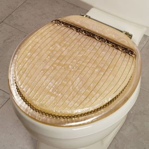 Gold Round Marble Plastic Toilet Seat