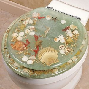 Green Resin Seashell And Seahorse Standard Toilet Seat