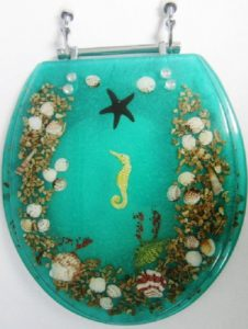 Heavy Duty Polyresin Seashell Aqua Toilet Seat