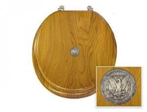 New Oak Finish Toilet Seat Lid Cover with Coin or Badge theme  Best Real Money Toilet Seats   The Toilet Seat Guy. Solid Gold Toilet Seat. Home Design Ideas