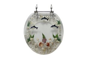 Polyresin Clear Seashell And Dolphins Toilet Seat