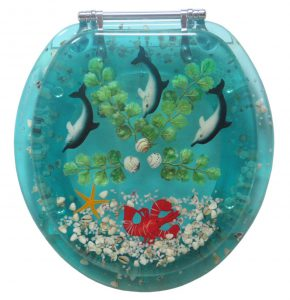 Polyresin Seashell And Dolphins Toilet Seat