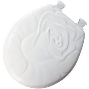 Rose Sculptured White Wood Toilet Seat