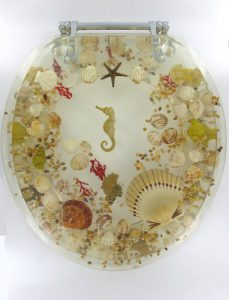 Round Clear Resin Seashell And Seahorse Toilet Seat