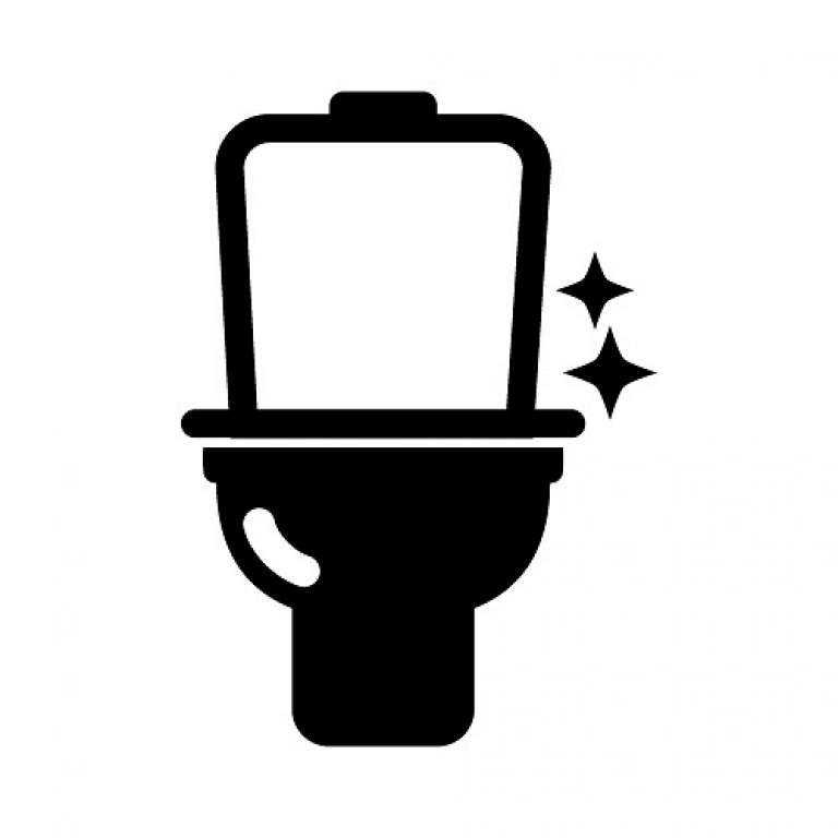 Toilet Image With Two Sparkling Stars