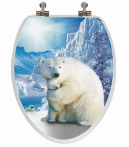 Topseat 3D Elongated Polar Bear Wood Toilet Seat