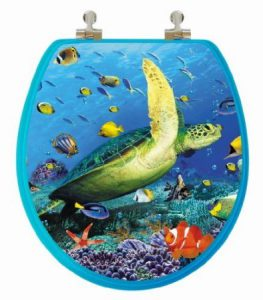 Topseat 3D Round Wood Toilet Seat Sea Turtle