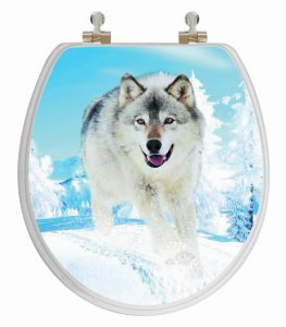 Topseat 3D Round Wood Toilet Seat Snow Wolf