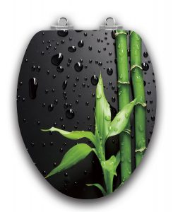 Topseat Art Black Bamboo Wood Elongated Toilet Seat