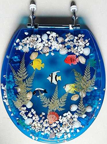 Transparent Blue Acrylic Seashell Tropical Fish Toilet Seat