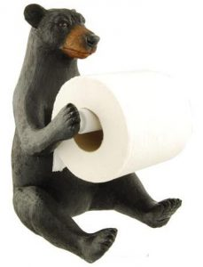 Big Black Bear Toilet Roll Holder