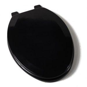 Comfort Seats Black Elongated Wood Toilet Seat