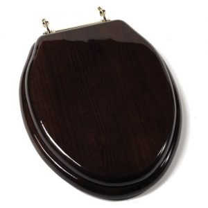 Comfort Seats Dark Brown Elongated Wood Toilet Seat