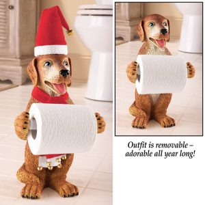 Cute Christmas Dog Toilet Roll Holder