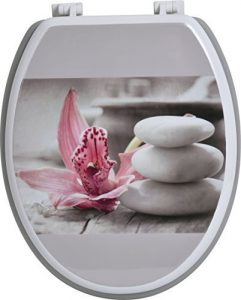 Evideco Chic & Zen Gray & Pink Elongated Toilet Seat