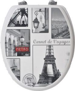 Evideco Vintage Paris Gray And White Elongated Toilet Seat