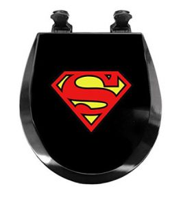 Superman Superhero Novelty Fun Round Wood Toilet Seat