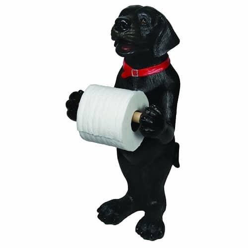 Black Standing Dog Holding Toilet Roll