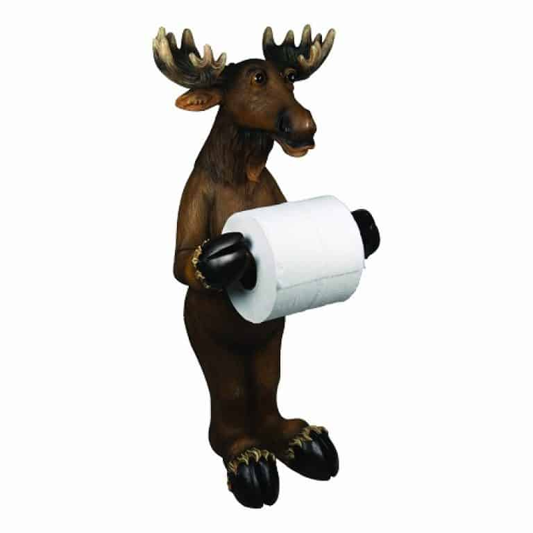 Brown Standing Moose Holding Toilet Roll